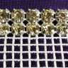Double Row Yellow Rhinestone Trim on White Netting