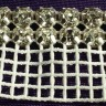 Double Row Clear Rhinestone Trim on White Netting