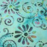 201543-2-037 - Light Blue Batik -flower with swirly stem - BACK IN STOCK JULY 6